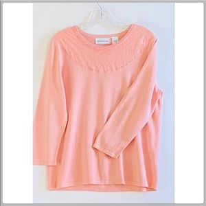 Alfred Dunner Sparkly Pink Lace Sequin Sweater